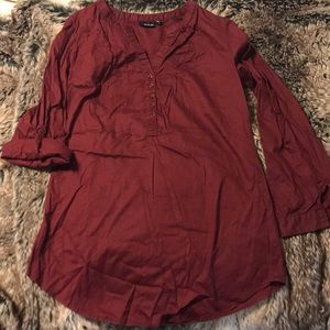 a.n.a. Burgundy, Long-Sleeve, Small Tunic
